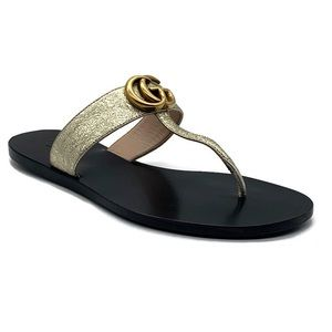 Gucci Leather Thong Sandal With Golden Double G